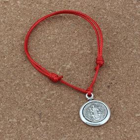 e23390e0e64b Pulsera Manilla Medalla San Benito Hilo Rojo Hombre Y Mujer