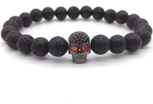 pulsera manilla pave cz cráneo piedras lava volcánica hombre