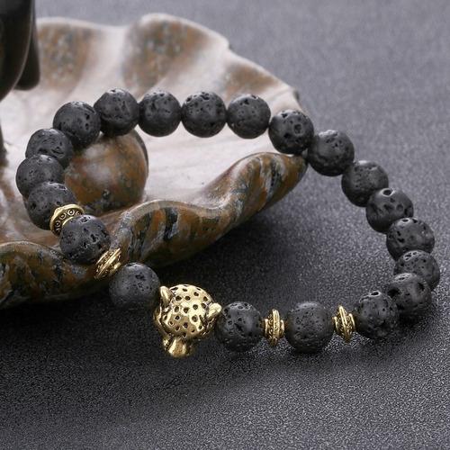 pulsera manilla piedras lava volcánica leopardo hombre