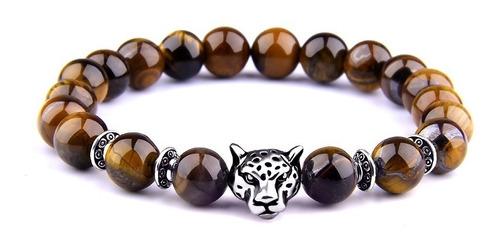 pulsera manilla piedras ojo de tigre leopardo hombre y mujer