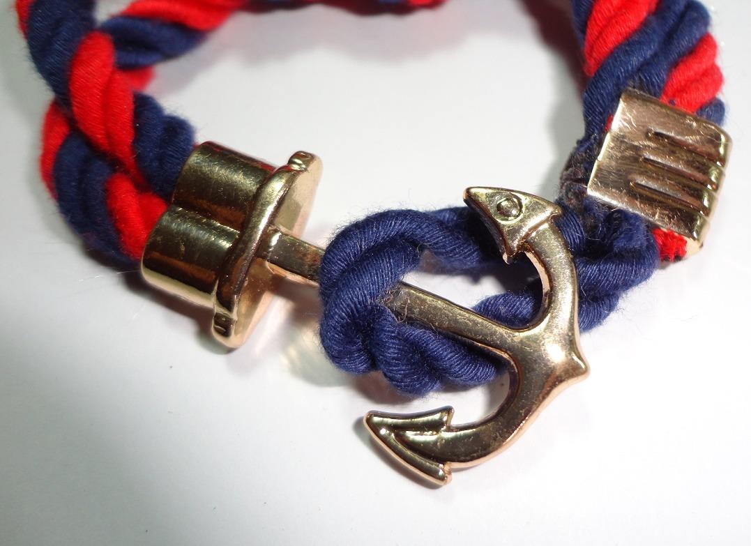 e94e2e2bd7d7 pulsera marinera rojo azul broche de ancla con nudo marinero. Cargando zoom.