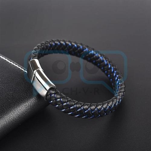 pulsera masculina de cuero y broche de acero magnético qchvr