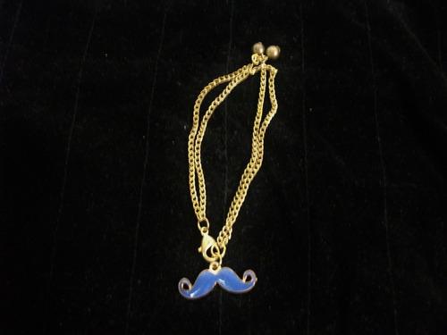 pulsera metal/cadena moztacho azul d/moda tienda virtual