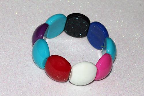 pulsera moda círculos azul rosa rojo blanco y negro pc460