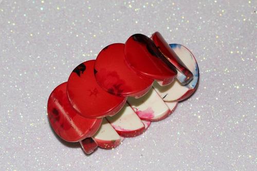 pulsera moda círculos rojos y detalles negros  pc404