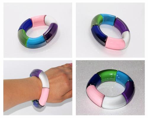pulsera moda cuentas cilíndricas multicolor bisuteria pc484