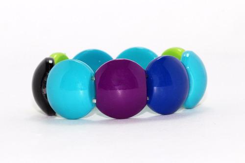 pulsera moda cuentas circulares  azul  y moradas pc456