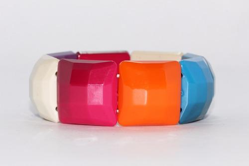 pulsera moda cuentas cuadradas colores bisuteria dama pc471