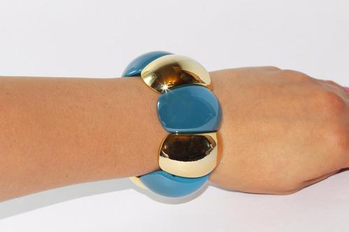 pulsera moda cuentas ovalado azul y dorado bisuteria pc317