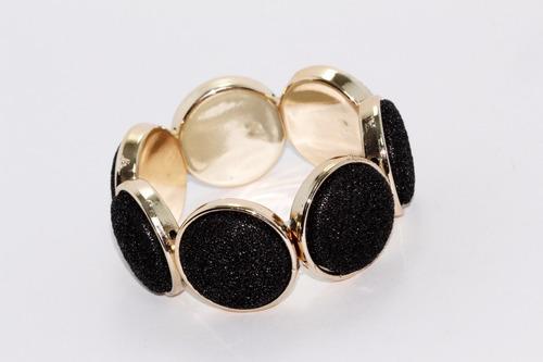pulsera moda dorada con esferas negras pc386