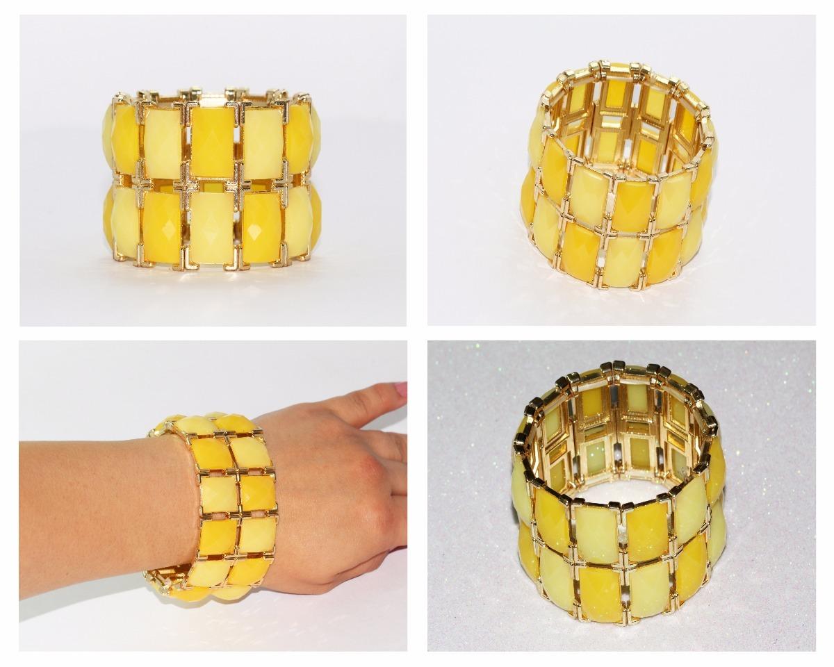 f205890f3473 Pulsera Moda Dorado Acero Cuentas Amarillas Bisuteria Pc332