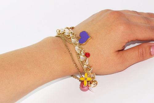 pulsera moda dorado acero y figuras colores bisuteria pc353
