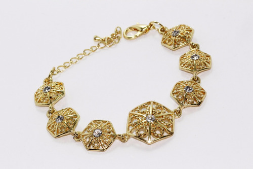 pulsera moda dorado con garigoleados hexagonales pc349