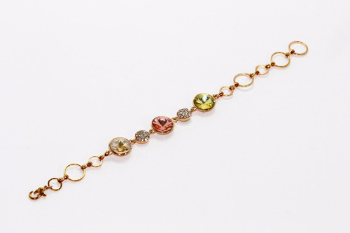 pulsera moda dorado cristales colores circulares dama pc293