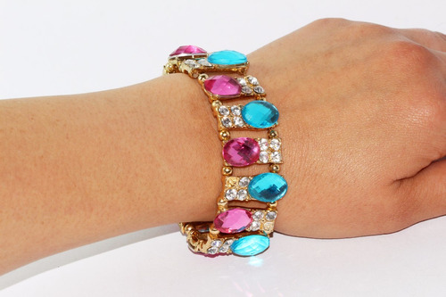pulsera moda dorado cristales rosas azules joyeria pc282