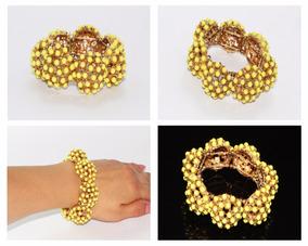bcbc7d087946 Pulsera Moda Dorado Cuentas Amarillas Esfericas Dama Pc325