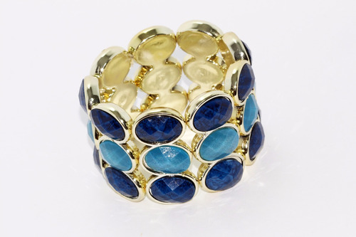 pulsera moda dorado cuentas azul rey y azul cielo pc322