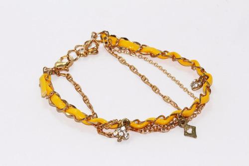 pulsera moda dorado liston amarillo dama cristales pc368