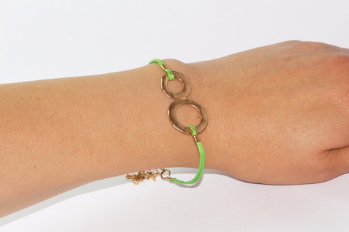 pulsera moda dorado liston verde fosforescente y aros pc371