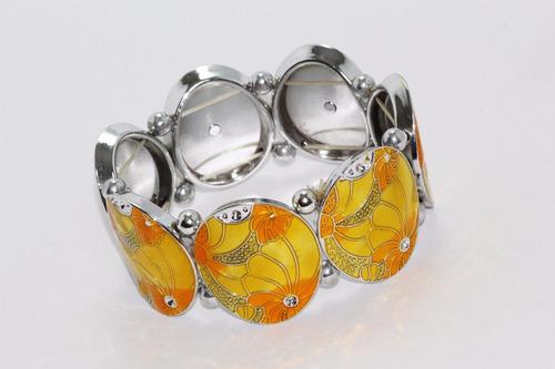 pulsera moda esferas y amarillo con naranja pc398