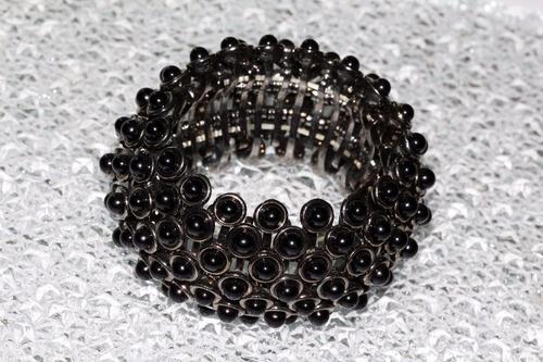 pulsera moda gris oxford y cuentas negras bisutería pc331