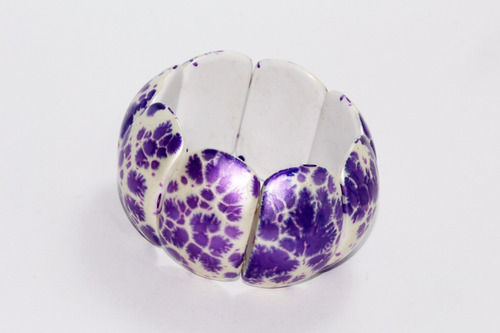 pulsera moda ovalados con detalles lila metalico pc411