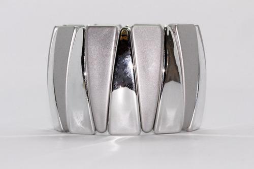 pulsera moda triángulos plateados y blancos pc437