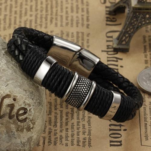 pulsera mozo de hombre (cuero trenzado y metal)  elegante
