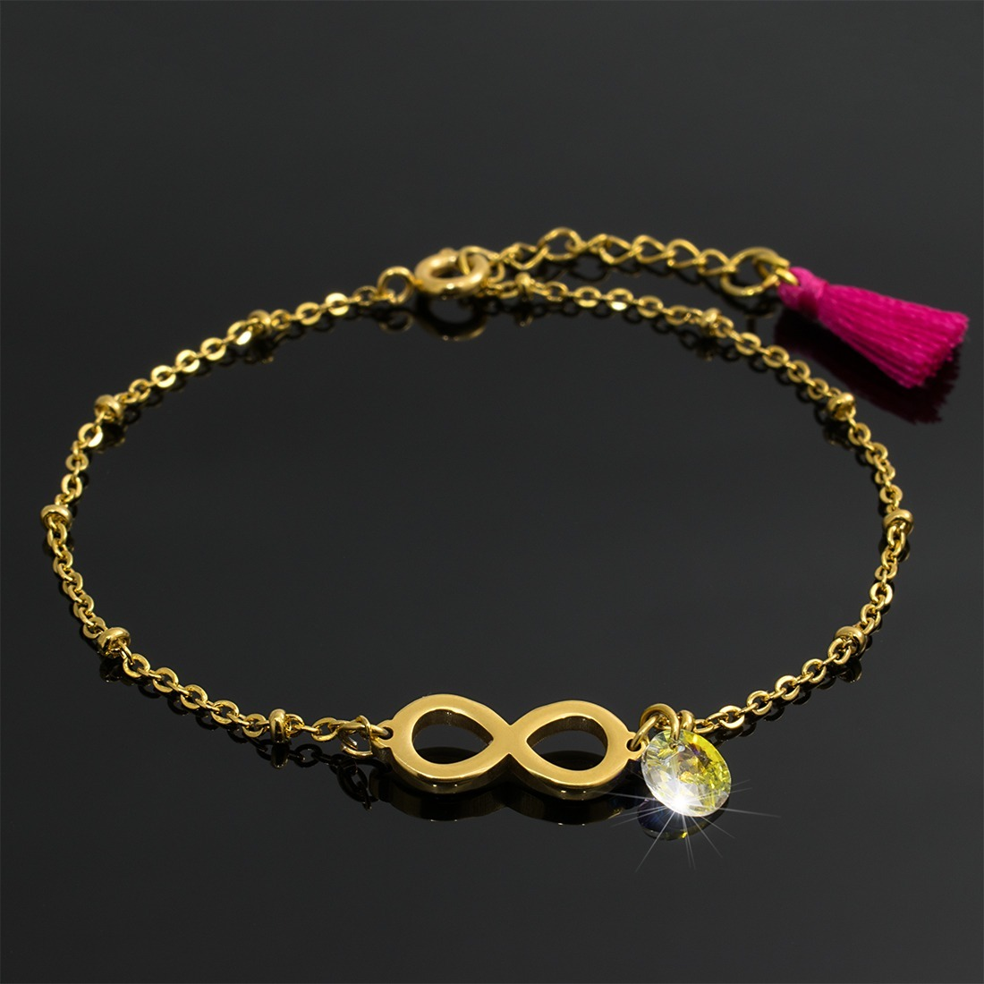 35779a57c45a pulsera mujer acero dorado con infinito dije swarovski borla. Cargando zoom.
