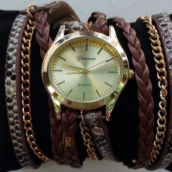 Reloj Pulsera De Mujer Con Correas Y Cadenas Animal Print