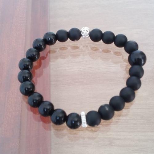 pulsera najah hombre elastica onix negro plata 925