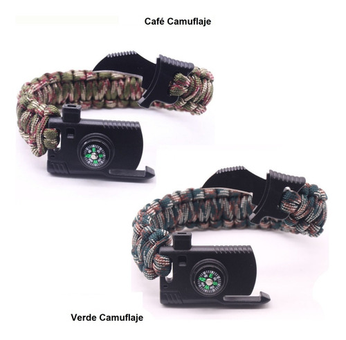 pulsera navaja silbato pedernal paracord  survival camping