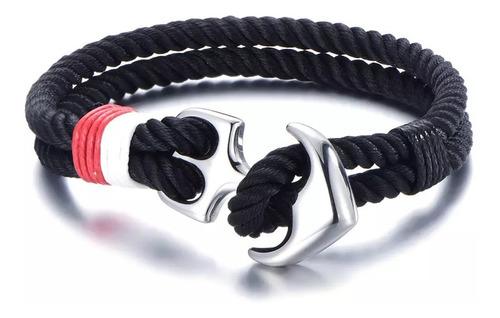 pulsera negra de ancla acero inoxidable para hombre premium