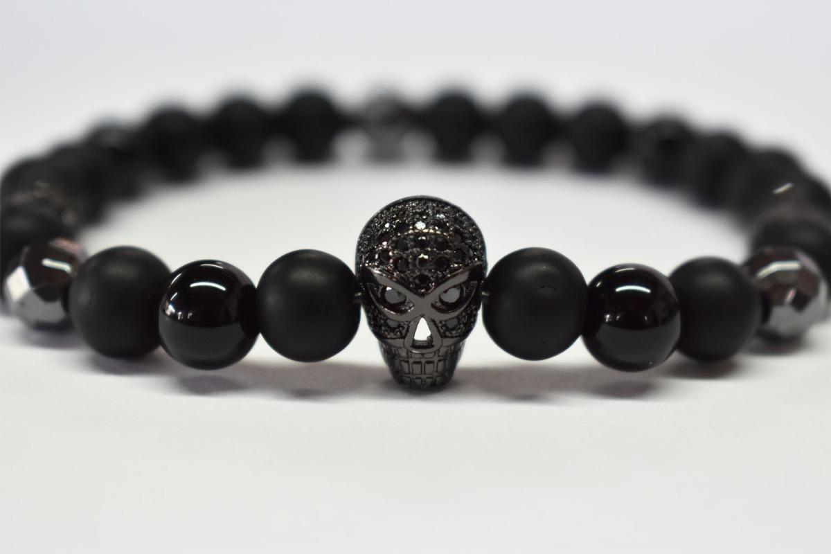 c3b7cdf23546 Pulsera Negra Skull Para Hombre