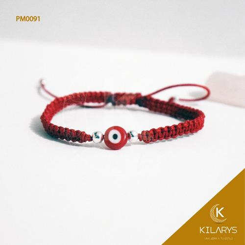 pulsera ojo turco rojo plata oro