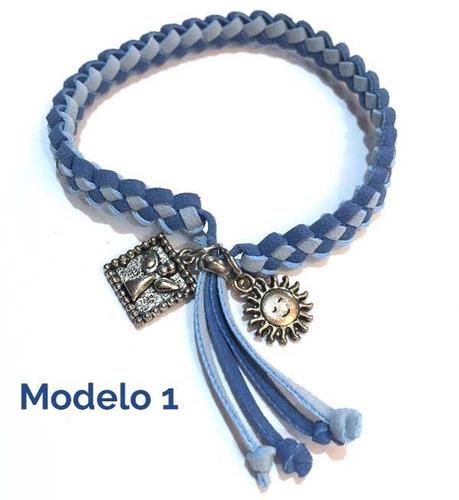 pulsera original tejida gamuza varios colores moda 2 dijes