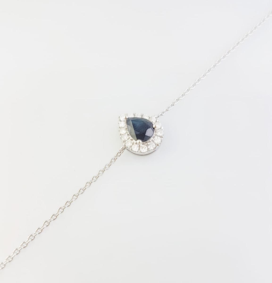 81df2cb9405d pulsera oro blanco 18k zafiro y diamantes brillante - mujer. Cargando zoom.