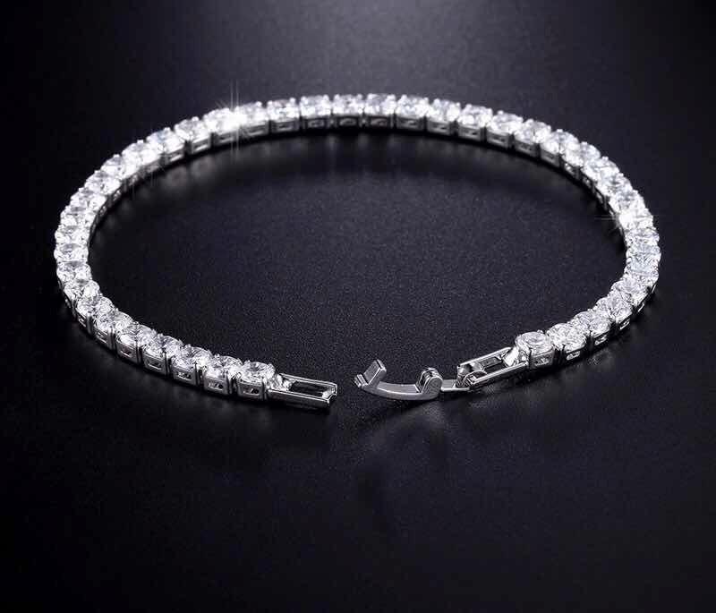 7151d7dd68d1 pulsera oro blanco de zirconias calidad diamante de 19cms. Cargando zoom.