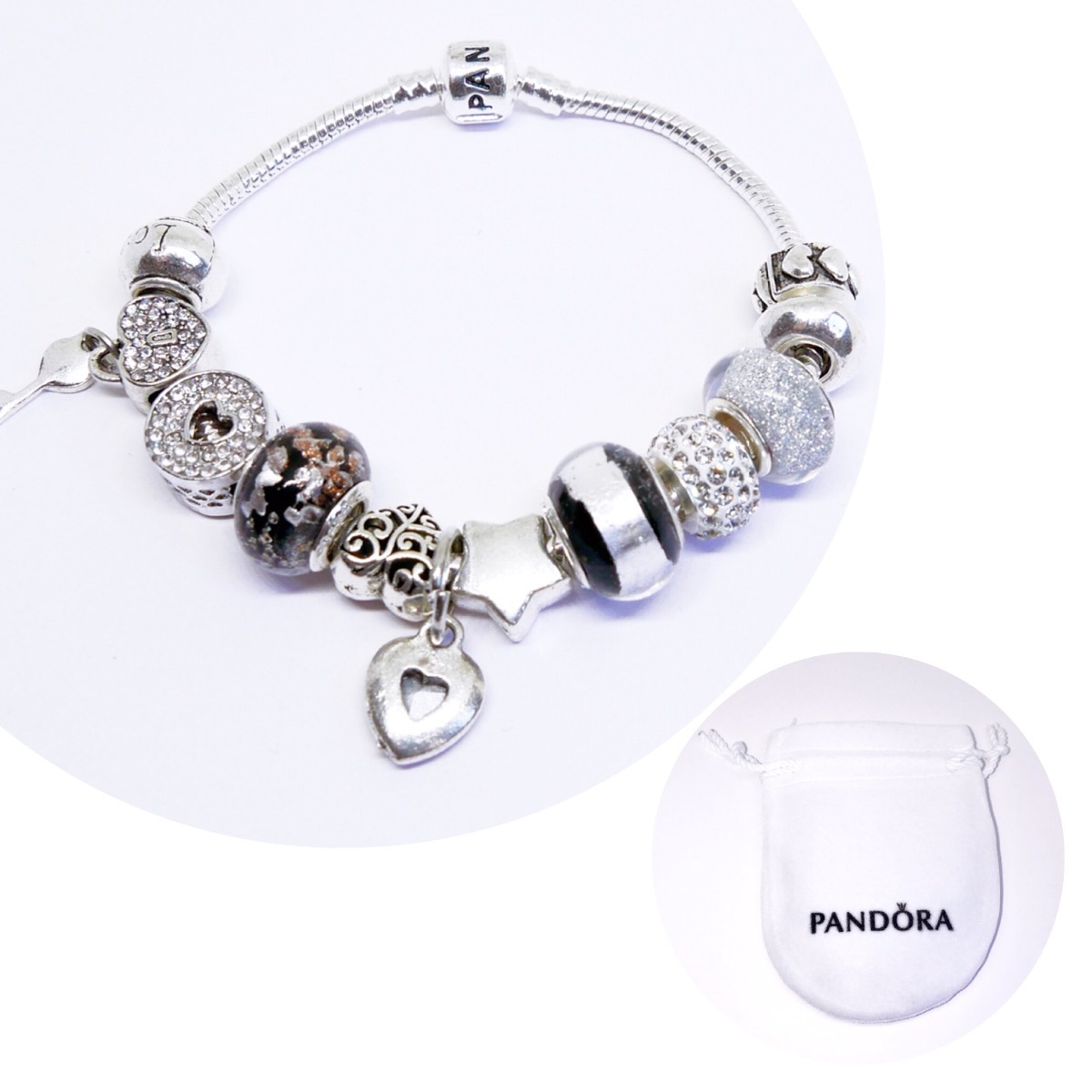 b157200ed Pulsera Pandora Charms Incluidos Baño Plata Regalo Mujer - $ 549.00 ...