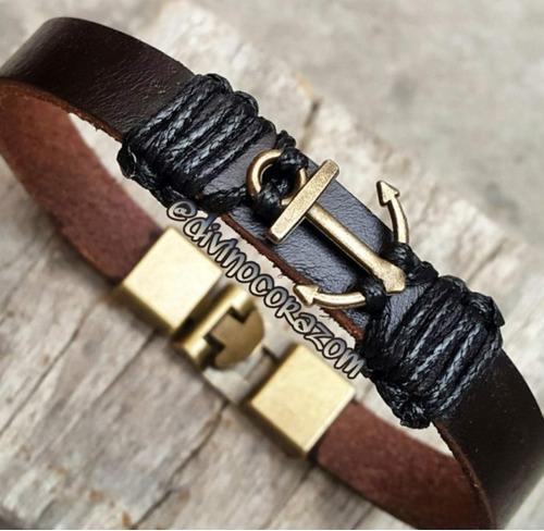 pulsera para caballero de cuero y broche