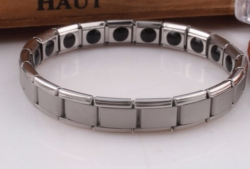 pulsera para hombre acero moda titanium energía magnética