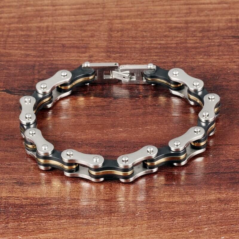 880695bebfb5 pulsera para hombre cadena moto dorada en acero y silicona. Cargando zoom.