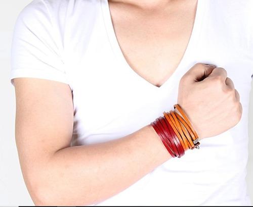 pulsera para hombre de cuero genuino brazalete de moda