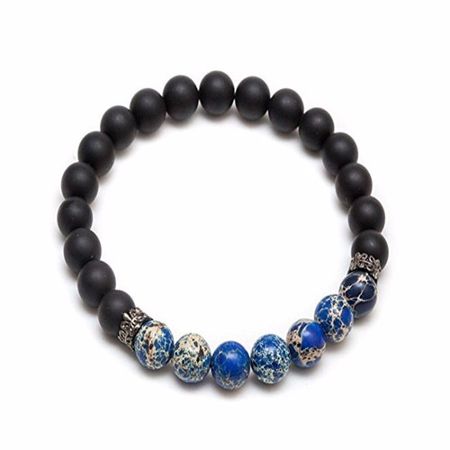 pulsera para hombre piedra volcánica negra opaca azul