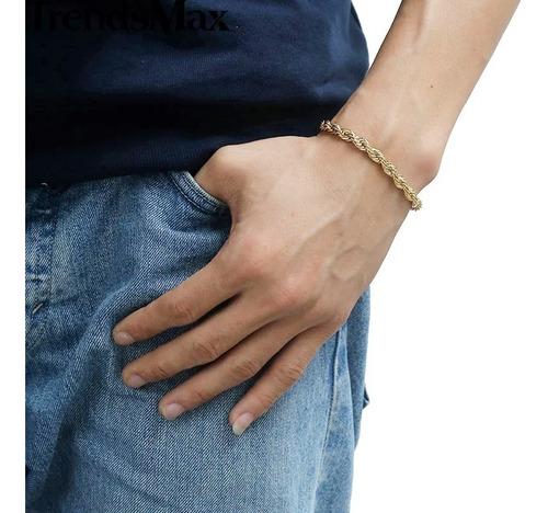 pulsera para hombre plata y baño de oro 18k codigo 005