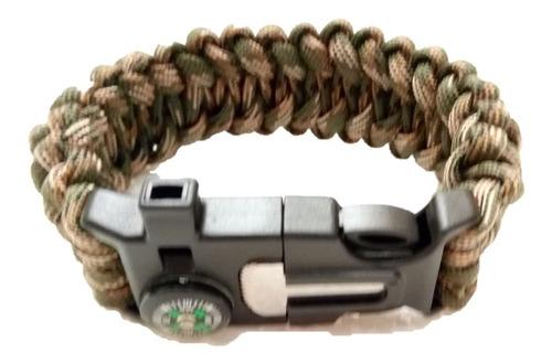pulsera paracord gruesa 23 cm pito,brujula,pedernal