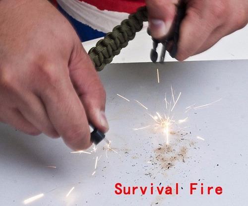 pulsera paracord supervivencia brújula raspado silbato fuego