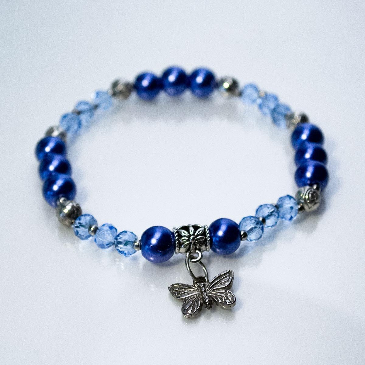 c1cb7e9b0b89 Pulsera Perlas Checas Azul Y Cristal Checo Facetado