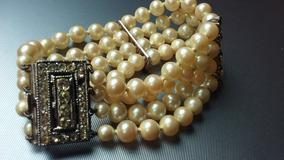db9e963612ac Pulsera Perlas Majorica Antiguo 20c Strass Collar Imperdible