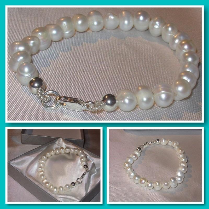 3194b3a45f82 pulsera perlas naturales cultivadas y plata. Cargando zoom.
